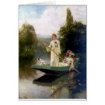 Mujeres y perro en una pintura del barco felicitación