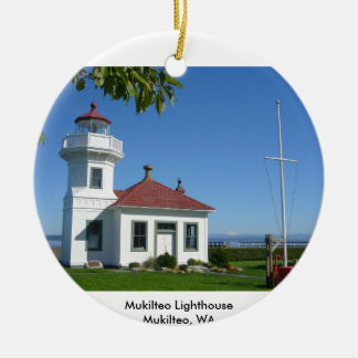 Mukilteo Lighthouse Double-Sided Ceramic Round Christmas Ornament