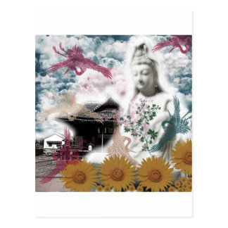 Muko mallow and the Merciful Goddess 菩 薩 with Postcard