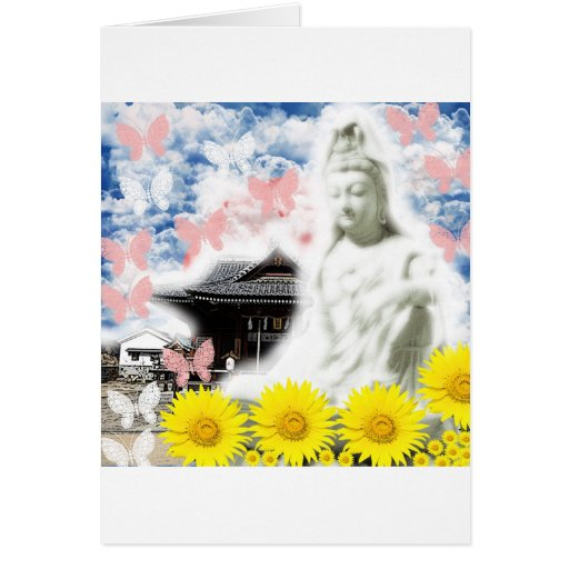Muko mallow and the Merciful Goddess 菩 薩 with prin Greeting Card