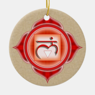 Muladhara or Root the 1st Chakra Double-Sided Ceramic Round Christmas Ornament