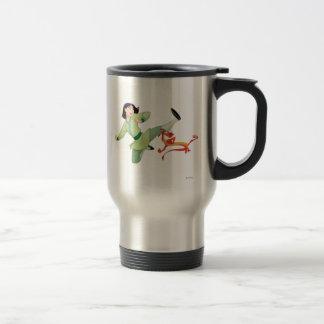 Mulan and Mushu Kicking 15 Oz Stainless Steel Travel Mug