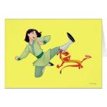 Mulan and Mushu Kicking Greeting Card