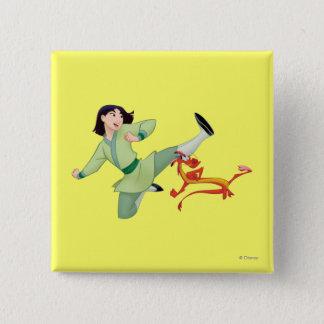 Mulan and Mushu Kicking Pinback Button