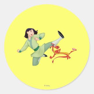 Mulan and Mushu Kicking Round Stickers