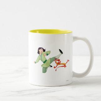 Mulan and Mushu Kicking Two-Tone Coffee Mug