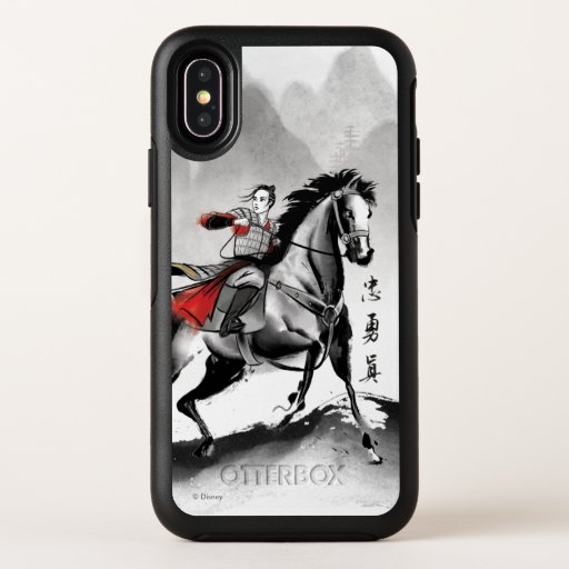 Mulan In Armor Riding Black Wind Watercolor OtterBox Symmetry iPhone XS Case