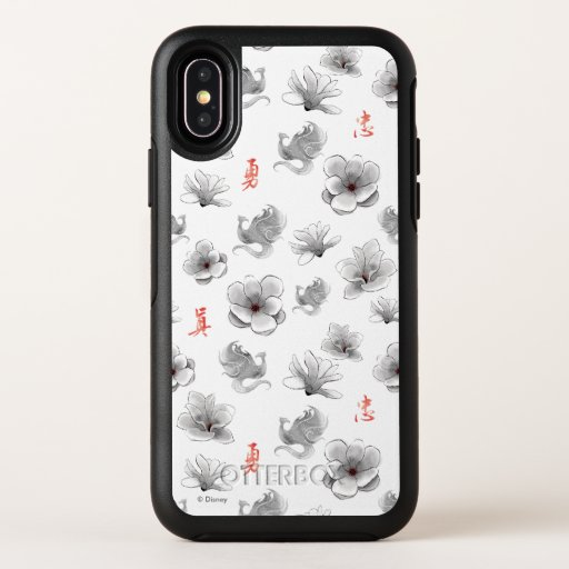 "Mulan ""Loyal Brave True"" Flower & Spirit Pattern OtterBox Symmetry iPhone XS Case"
