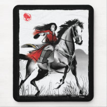 Mulan Riding Black Wind Framed Watercolor Mouse Pad