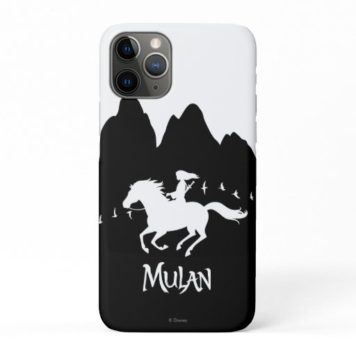 Mulan Riding Black Wind Past Mountains Silhouette iPhone 11 Pro Case