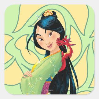 Mulan y Mushu Pegatina Cuadrada