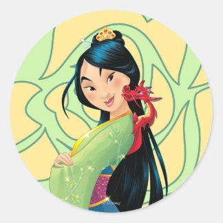 Mulan y Mushu Pegatina Redonda