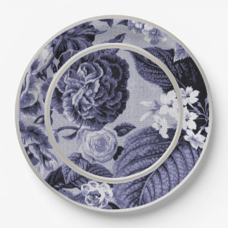 Mulberry Blue Purple Floral Toile No.1 Paper Plate