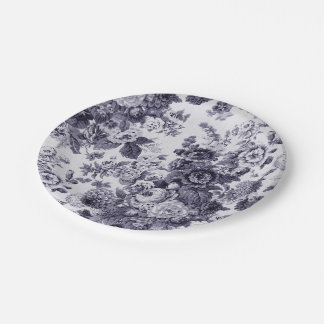 Mulberry Blue Purple Floral Toile No.3 Paper Plate