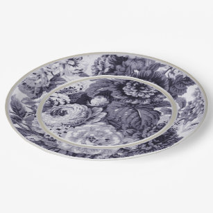Mulberry Blue Purple Floral Toile No.3 Paper Plate  sc 1 st  Zazzle & French Toile Plates | Zazzle