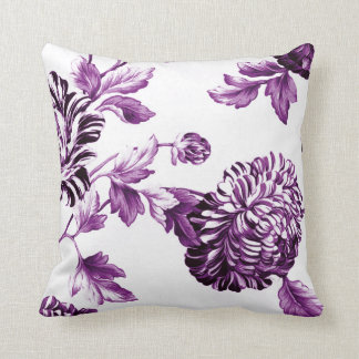 Mulberry Blue Purple & White Floral Toile No.2 Throw Pillow