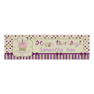 Mulberry Dot and Sweet Cupake Birthday Banner Print