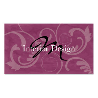 Mulberry Interior Design Batik Monogram Double-Sided Standard Business Cards (Pack Of 100)
