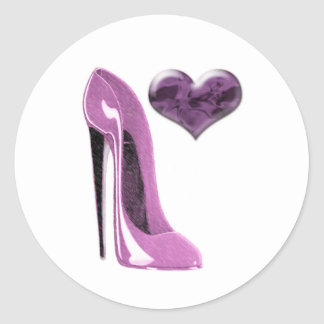 Mulberry Pink Stiletto Shoe High Heel and 3D Heart Classic Round Sticker