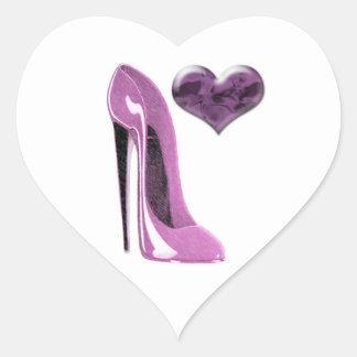 Mulberry Pink Stiletto Shoe High Heel and 3D Heart Heart Sticker