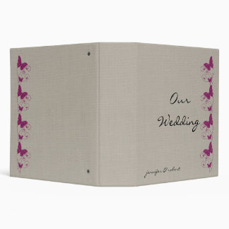 Mulberry Purple Butterfly on Linen 3 Ring Binder