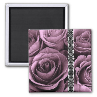 Mulberry Purple Wedding Rose Bouquet with Lace 2 Inch Square Magnet