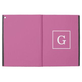 "Mulberry Purple White Framed Initial Monogram iPad Pro 12.9"" Case"