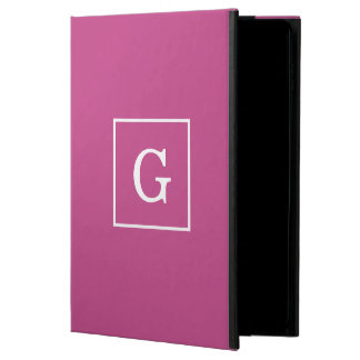 Mulberry Purple White Framed Initial Monogram Powis iPad Air 2 Case