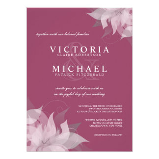 Mulberry Rose and White Floral Wedding Invitations