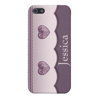 Mulberry Scalloped Heart iPhone SE/5/5s Cover