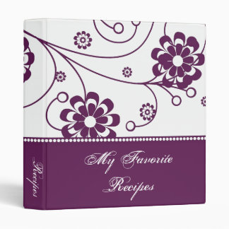 Mulberry Scroll Blooms Recipe Book 3 Ring Binder