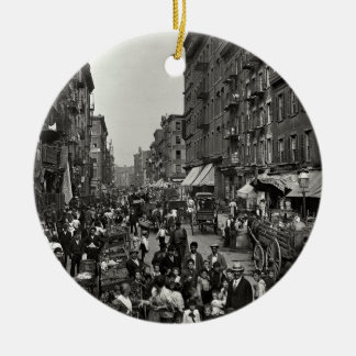 Mulberry Street in New York City, ca. 1900 Ceramic Ornament