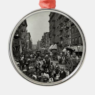 Mulberry Street in New York City, ca. 1900 Metal Ornament