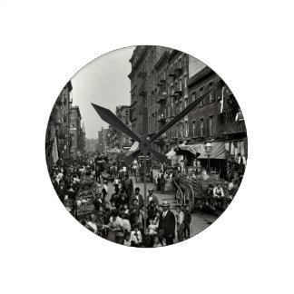Mulberry Street in New York City, ca. 1900 Round Clock