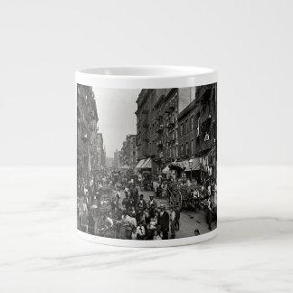 Mulberry Street in New York City, ca. 1900 20 Oz Large Ceramic Coffee Mug