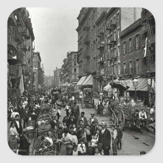 Mulberry Street in New York City, ca. 1900 Square Sticker