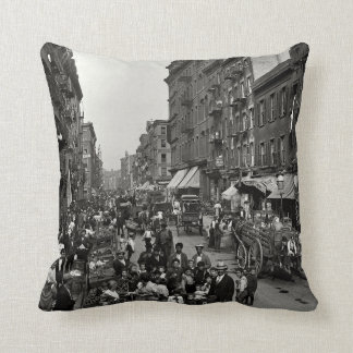 Mulberry Street in New York City, ca. 1900 Throw Pillow
