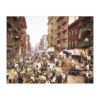 Mulberry Street NYC 1900 Colorized Stretched Canva Canvas Print