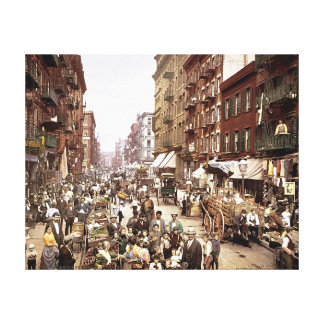 Mulberry Street NYC ca. 1900 Color Canvas Print