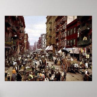 Mulberry Street NYC circa 1900 Canvas Print