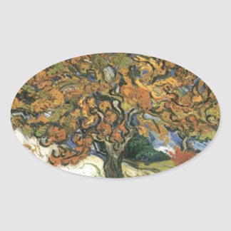 Mulberry Tree by van Gogh Oval Sticker