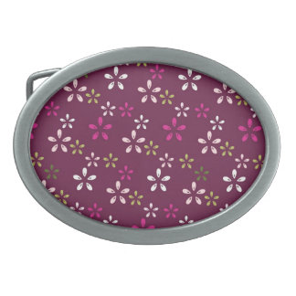 Mulberry Wine Purple and Pink Floral Pattern Gifts Belt Buckle
