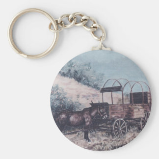 Mule and antique wagon keychain