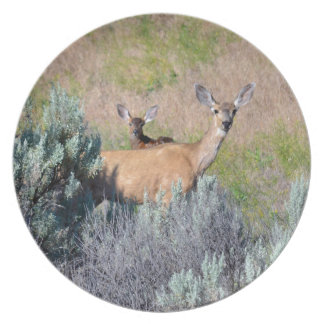 Mule Deer, A Doe and fawn Party Plates