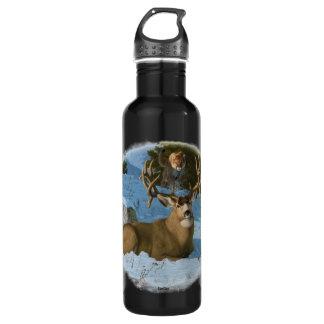 Mule Deer and Cougar Stainless Steel Water Bottle
