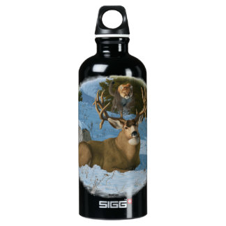 Mule Deer and Cougar Water Bottle