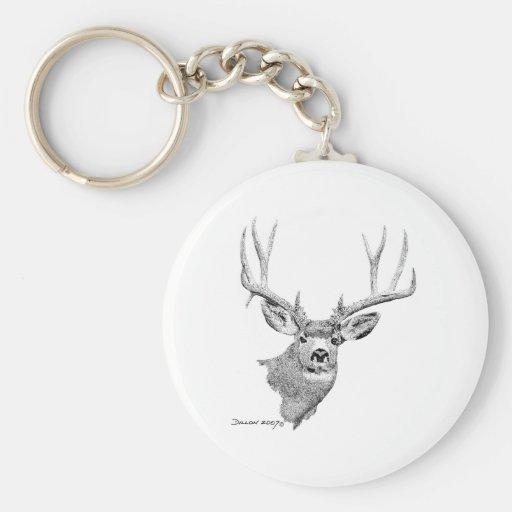 Mule Deer Basic Round Button Keychain