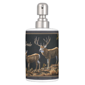 Mule Deer Buck and Doe Gray Custom Bath Set