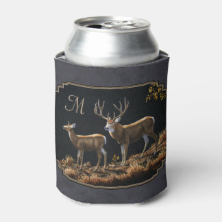 Mule Deer Buck and Doe Gray Custom Can Cooler