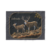 Mule Deer Buck and Doe Gray Custom Fleece Blanket
